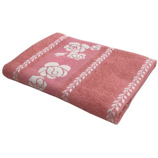 Lushomes Super Absorbent Cotton Light Pink Bath Towel with Jacquard Border for Women, 400 GSM