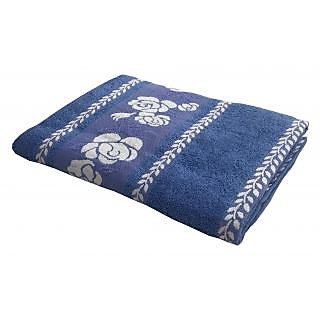 Lushomes Super Absorbent Cotton Cobalt Blue Bath Towel with Jacquard Border for Women, 400 GSM