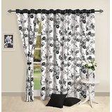 Elements Black N White Floral Curtain
