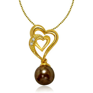 Diamond And Black Pearl Pendant In Yellow Gold San13