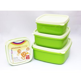 MasterCook 4 Pcs Square-200ml,330ml,500ml,780ml Plastic Food Container (Green)