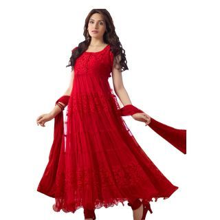 Fabdeal Daily Wear Red Colored Brasso Dress Material