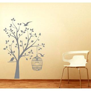Decor Kafe Orange Bird And Tree Wall Sticker 17x25(inch)