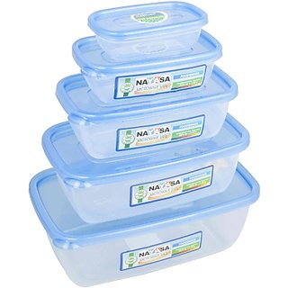 Nayasa Easy 5PC Polypropylene Food Container (Pack Of 5,Blue)