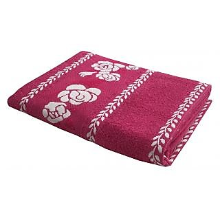 Lushomes Super Absorbent Cotton Pink Bath Towel with Jacquard Border for Women, 400 GSM