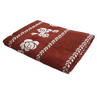 Lushomes Super Absorbent Cotton Rust Bath Towel with Jacquard Border for Women, 400 GSM