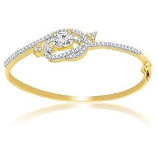 Jewelscart American Diamond Solitaire Gold Plated Cz Bracelet Kada