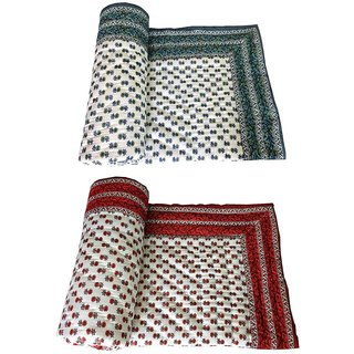 marwal Como Of 2 Jaipuri Ethnic Design Single Cotton Printed Bed Quilt