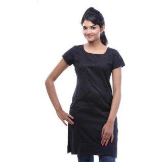 Plain Black Cotton Kurti