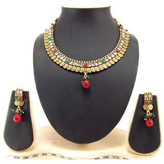 Aria gold plated temple jwellery emerald cz necklace set p83