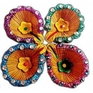 Terracotta diya (set of 4)