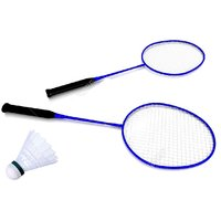 Shopperchoice Badminton Combo (2 Blue Racquets + 1 Nylon Shuttlecock) With Full Cover