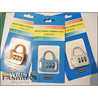 Resettable Combination Pad Lock For Bags, Luggage, Zippers  Buy 1 Get 1 Free