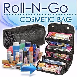 Okayji Roll-N-Go Black Cosmetic Bag