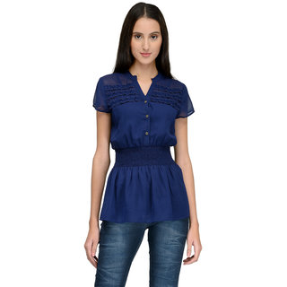 Tunicnation Women Navy Blue Poly Georgette Long Shirt