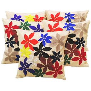 Felt Flower Patch Cushion Cover beige(5 Pcs Set)