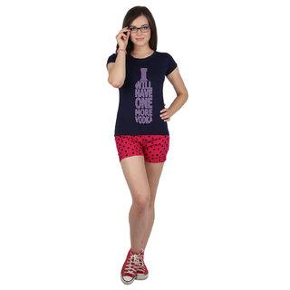 SayItLoud Half Sleeve Navy Blue Colour Womens Printed Tshirt
