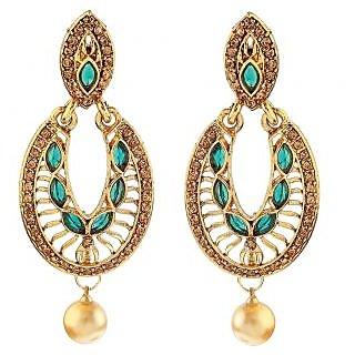 BIYU gold plated CZ green earring set