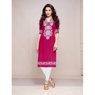Aagaman Beautiful Magenta Colored Printed Crape Unstitched Kurti