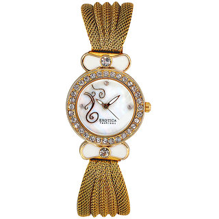 Exotica Fashions EFL25 Golden Coloured With Gold Stainless Steel Strap Quartz Watch For Women