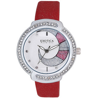 Exotica Fashions EFL27 Fuschia Coloured With Fuschia Leather Strap Quartz Watch For Women