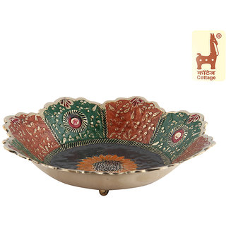 Cottage Emporium - 7.5 Inch Fruit Bowl Round Brass Enamel