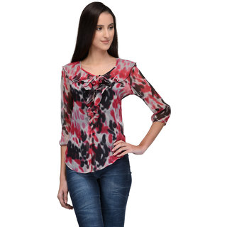 Tunicnation Women b Poly Chiffon Multicoloure Printed Top