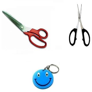 Combo Of Stainless Big Scissor + Small Scissor With Free Smiley Key Chain