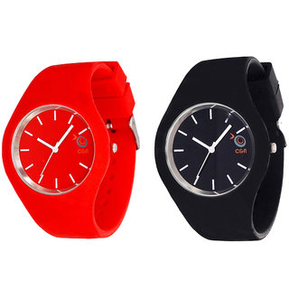 Chappin  Nellson CMB-CNP-07 Combo of Black  Red Coloured With Multi PU Strap Quartz Watch For Women
