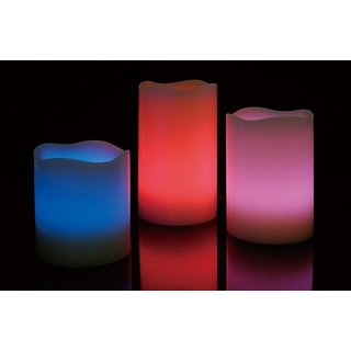 LED Wax Candle With Remote Multi Colour Changing (Set Of 3)