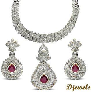 Djewels Ruby Diamond Wedding Necklace Set
