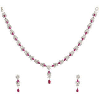 Acsentials Gold Plated Pink Stone Studded American Diamond Set