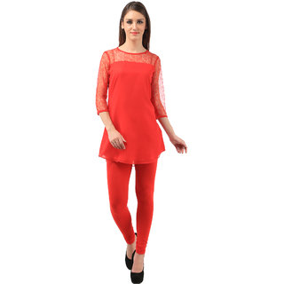 vedika red georgette braso net tunics