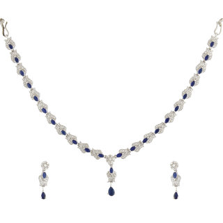 Acsentials Gold Plated Blue Stone Studded American Diamond Set