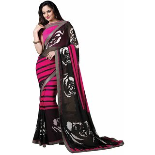 Vibhaa Pink,Black Georgette Printed Saree
