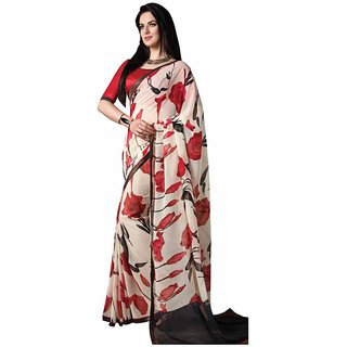 Vibhaa White Georgette Printed Saree