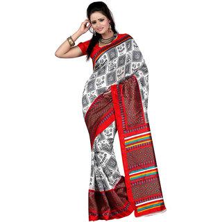 Vibhaa Black,Red Art Silk Printed Saree