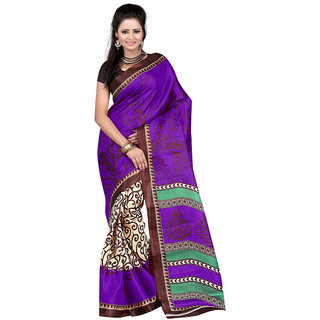 Vibhaa Purple Art Silk Printed Saree
