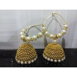 White Brass Jhumka Earrings For Women