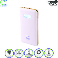 Ecalorie 10000 MAH Slim 10mm Fast Charging Digital Screen Lithium Polymer White Power Bank With Warranty