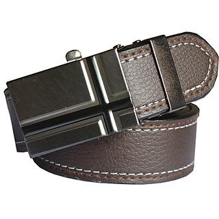 WHOLESOMEDEAL Synthetic Leatherite brown auto lock adjustable buckle belt (Synthetic leather/Rexine)