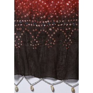 Ruhaans Turquoise Cotton Embroidered Dupatta