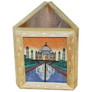 JaipurRaga Incredible Gemstone Taj Mahal Painting Wooden Pen Stand Item