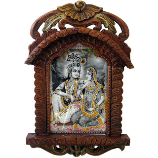 Radha Krishna Photo Frame Wooden Jharokha Gift Home Decor Item