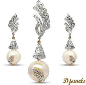 Djewels Diamond Natural Pearl  Pendant Set