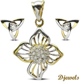 Djewels White Gold Diamond Pendant Set