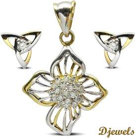 Djewels White Gold Diamond Pendant Set