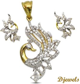 Djewels Diamond Designer Peacock Pendant Set