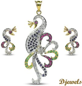 Djewels Ruby Emerald Sapphire Diamond Peacock Design Pendant Set