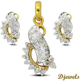Djewels Diamond Gold Pendant Set